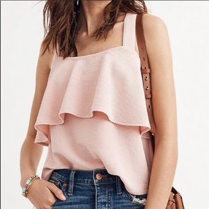 Madewell. Texture and tiered tank top. Light pink